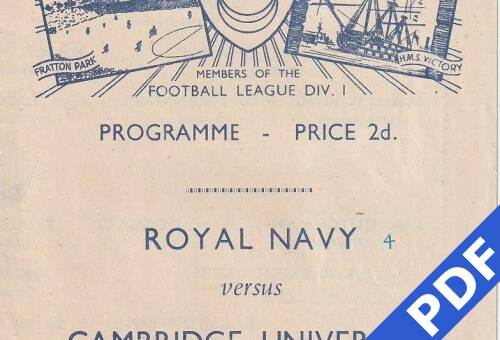 19481027 Official Programme RN v Cambridge Uni
