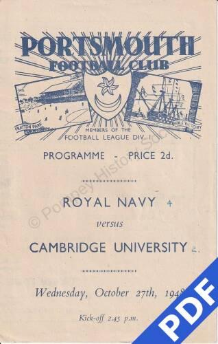 19481027 Official Programme RN v Cambridge Uni