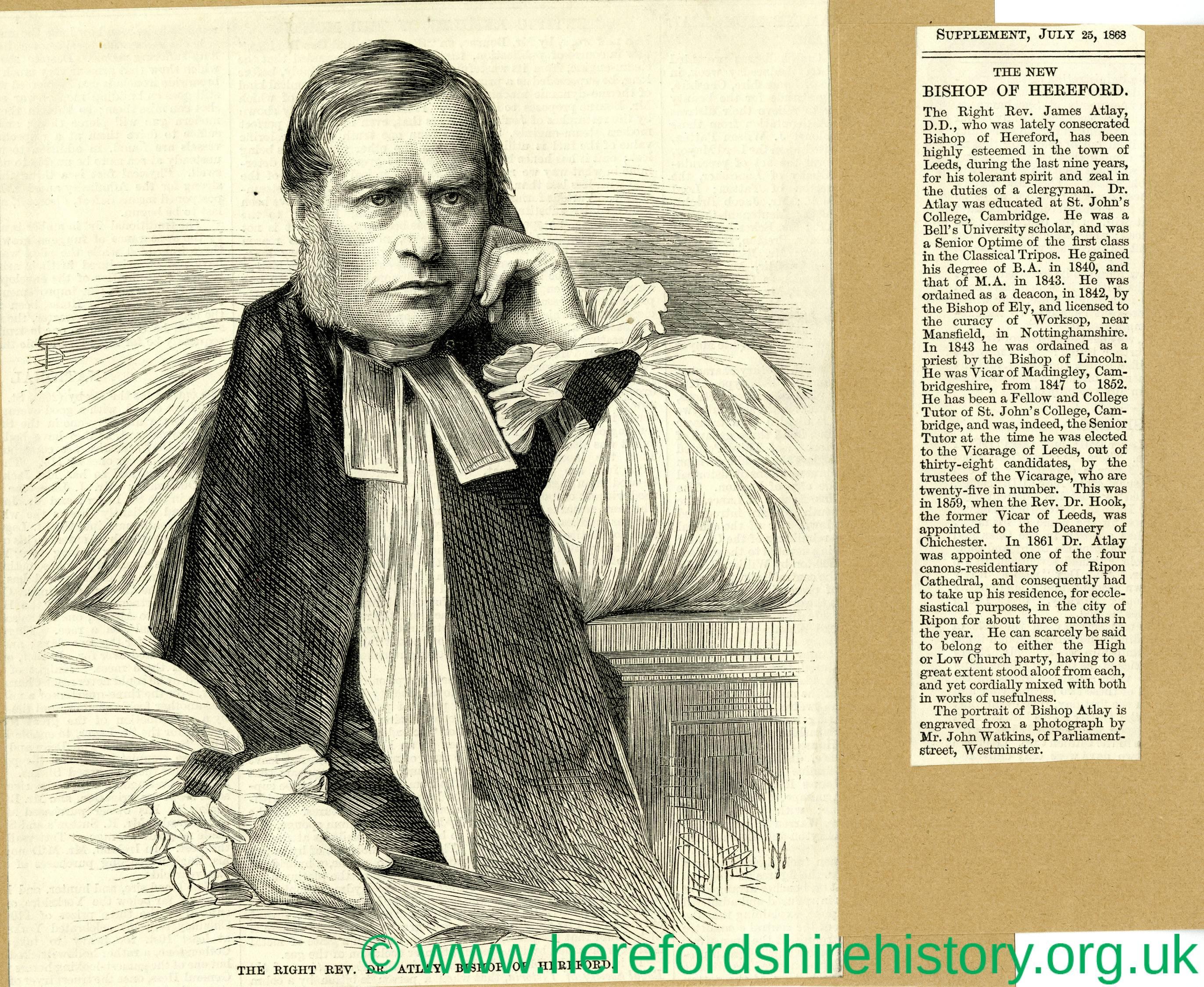 Dr JAMES ATLAY Bishop of Hereford Rev Antique Print 1868