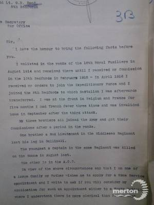 Letter to War Office (Part 1) - Guy Baron Reed