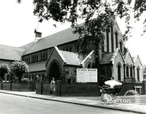 St Mark's Church, Mitcham, seen from Baker Lane