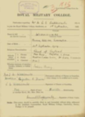 RMC Form 18A Personal Detail Sheets Feb & Sept 1922 Intake - page 310