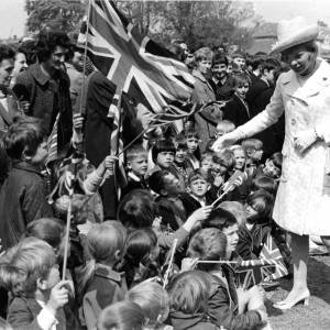 Duchess of Kent meeting children