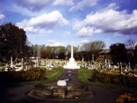 Graveyard and War Memorial, Mitcham Parish Church