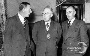 Mayor Ald. G. R. Madgwick and Cllr. E. G. Mills with A. W. G. Turnbull