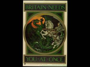 Britain Needs You at Once - WW1 recruiting poster