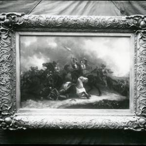 G36-015-01 Framed painting; armoured horsemen engaged in battle.jpg