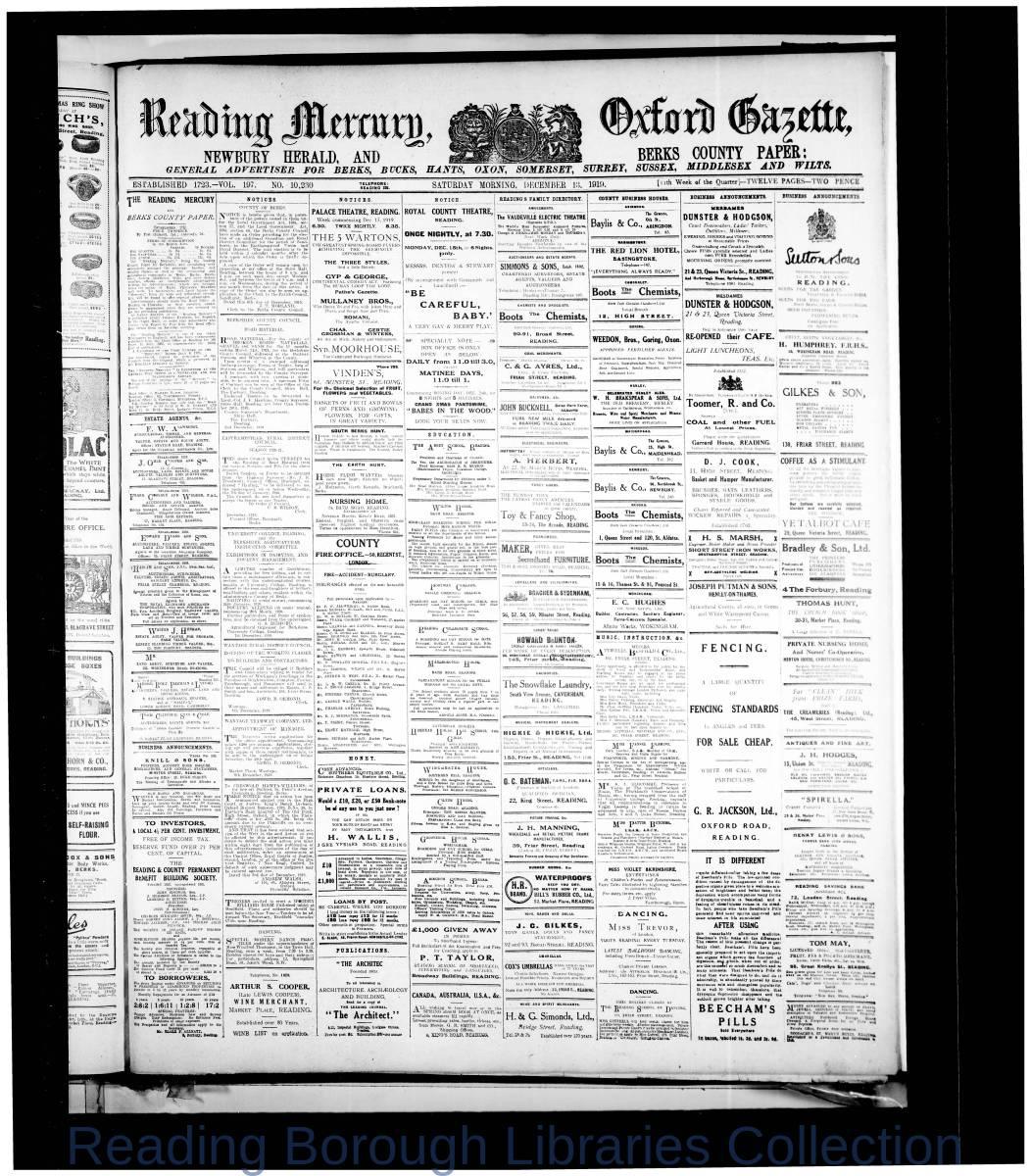 Reading Mercury Oxford Gazette Saturday, December 13, 1919. Pg 1