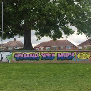 Thank you NHS graffiti, King George V playing fields, Hereford, May 2020