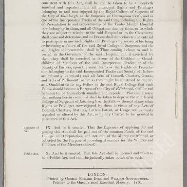 """Act of the Parliament """"enabling Her Majesty to grant a new charter to the Royal College of Surgeons of Edinburgh"""" (5)"""