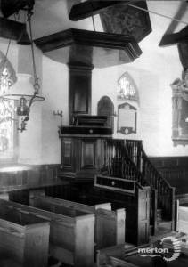 The pulpit inside Parish Church on London Road, Morden