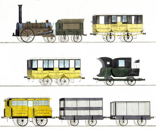 Locomotive, cars, carriages and coaches