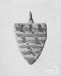 Enamelled armorial pendent. Found at Mitcham.