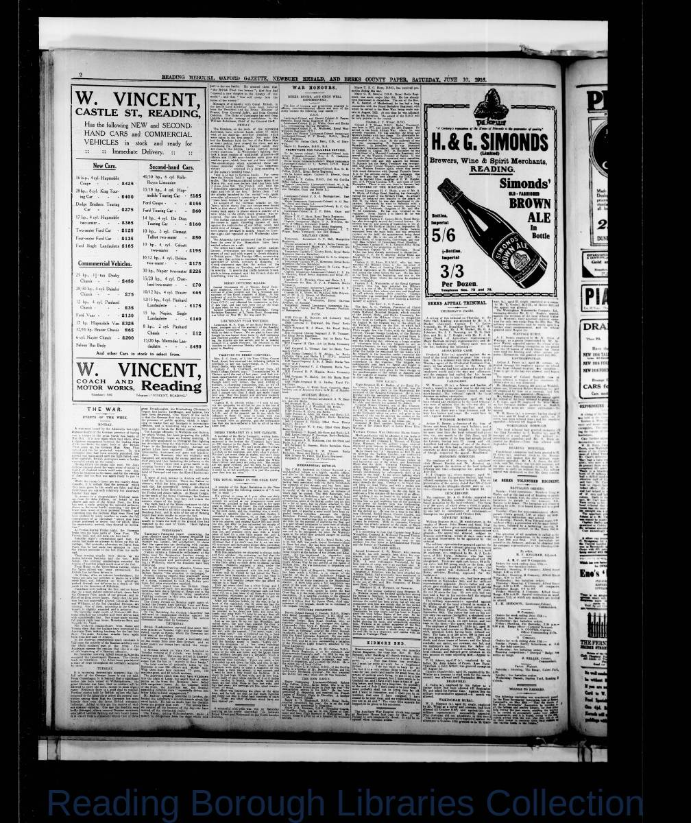 Reading Mercury Oxford Gazette Saturday, June 10, 1916. Pg 2