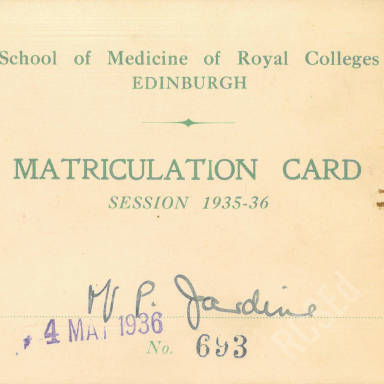 Matriculation card