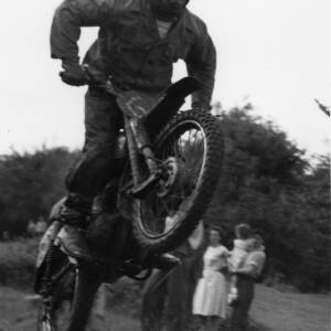 A motorcyclist in a scrambling event.