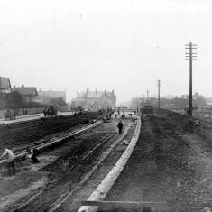 Laying the electric tramways Sunderland Road.