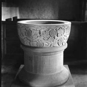 G36-073-15 Carved font Brockhampton church with frieze of vine leaves and grapes.jpg