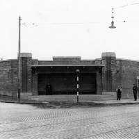 Shelter at corner of Miller's Bridge and Derby Road, Bootle, 1936