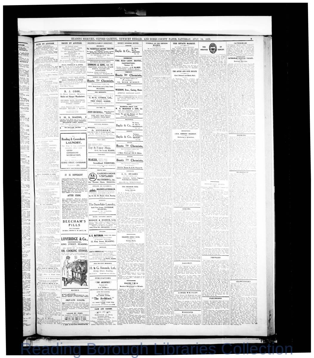 Reading Mercury Oxford Gazette Saturday , July 24, 1920. Pg 9