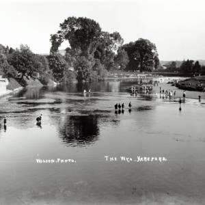 The River Wye below Victoria Bridge, Hereford - children paddling