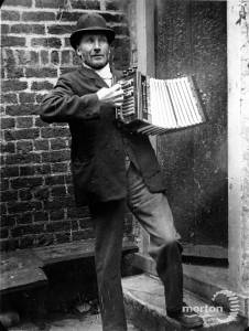 Patmore pictured with his accordion