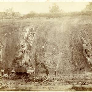 Ledbury cutting under construction showing geological strata