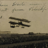 Claude Graham White flying into Southport from Blackpool