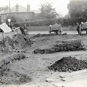 St Giles Church foundations, 1927