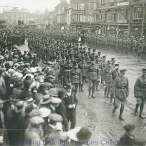The First Battalion, the Royal Berkshire Regiment, in St. Mary's Butts, Reading, 14 April, 1919