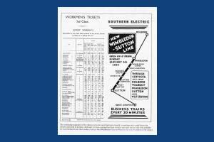 Train timetable advertisement, Wimbledon Station