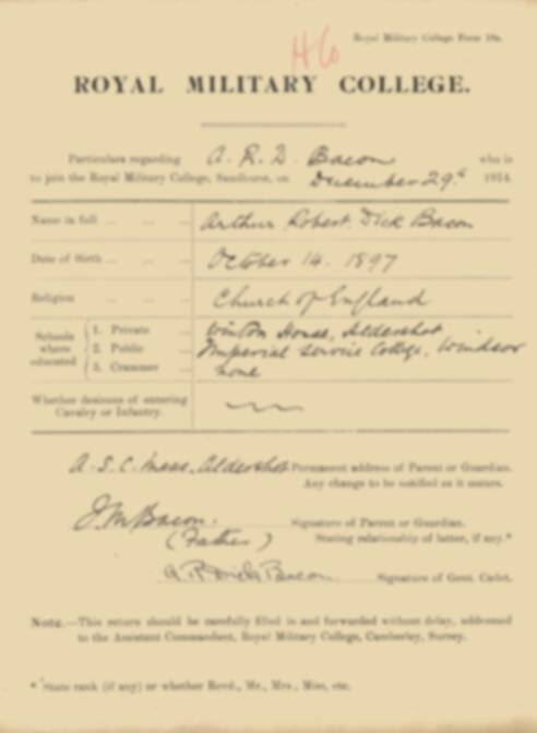 RMC Form 18A Personal Detail Sheets Jan 1915 Intake - page 11
