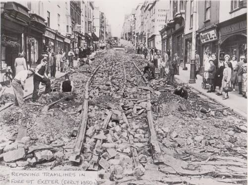 Removing tramlines in Fore St., photograph,  early 1950s, Exeter
