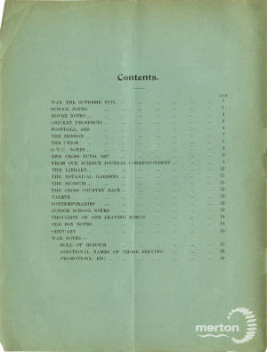 KCS Magazine Contents Page - April 1918