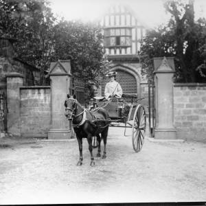 G36-046-07 Horse gig lady Bishops Palace gates.jpg