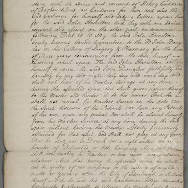 Indenture between John Douglas, surgeon apothecary of Edinburgh and John Hamilton