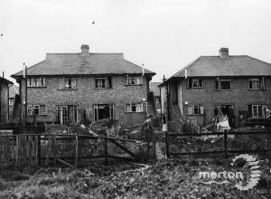 Bomb damaged houses in Runnymede Road, Mitcham