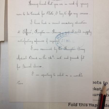 Letter to Royal Flying Corps - page 1