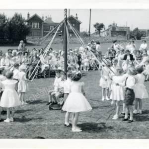 1960's Maypole Country Dancing In School Field (d)