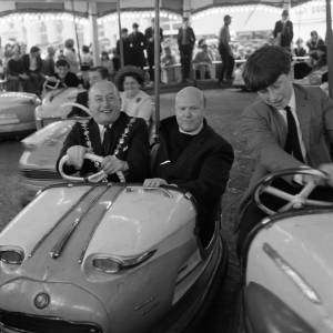 The Bishop rides Deakin's Dodgems at Hereford May Fair, 1968