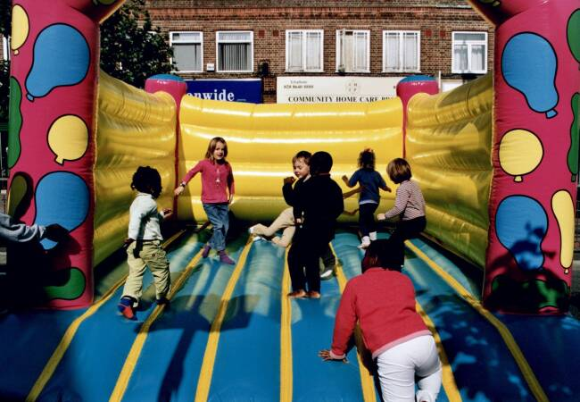 Bouncy castle, European Car Free Day, Morden