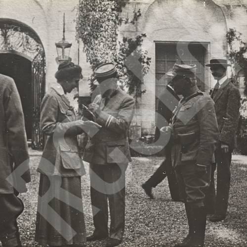 Dr. Frances Ivens Receiving Visitors (French officers and civilians)