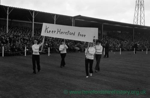 Hereford United supporters parading around the pitch before the Newcastle game, Feb 1972.