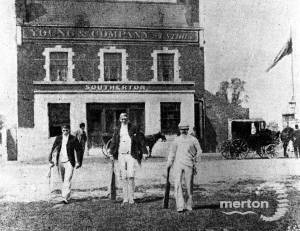 Australians Players in front of the Cricketers Pub, Mitcham.