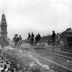 Laying of tramway at Pier Head