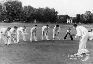 Alf Turnbull,  coaching youngsters on Cricket Green, Mitcham