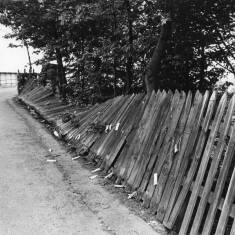 Broken Fence on Embankment