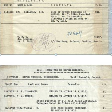 Casualty Report from the War Diary of 12th Battalion, Rifle Brigade