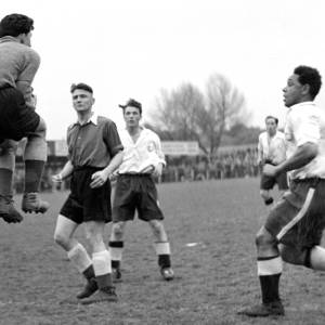 Goalkeeper collects at Edgar Street, 1950s.