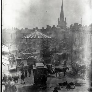 Clean up of the May Fair, High Town, Hereford, c.1895
